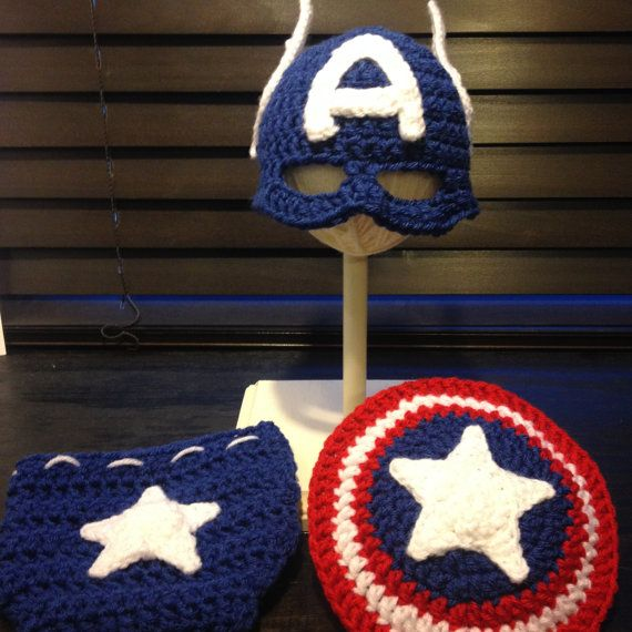 Captain America Inspired crochet Newborn by ToAlexWithLove on Etsy ...