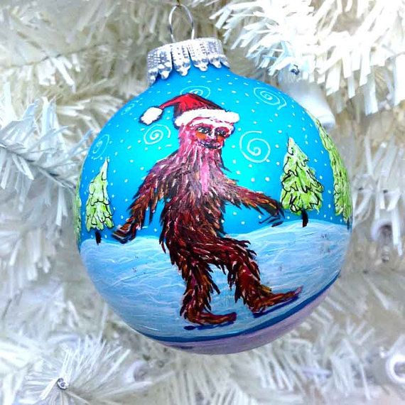 Bigfoot Christmas Ornament Creepy Sasquatch Hand Painted Glass XMas Tree  Ball Weird Unusual Creepy Squatchy Gift Holiday Decoration Santa - Bigfoot Christmas Ornament Creepy Sasquatch Hand Painted Glass XMas