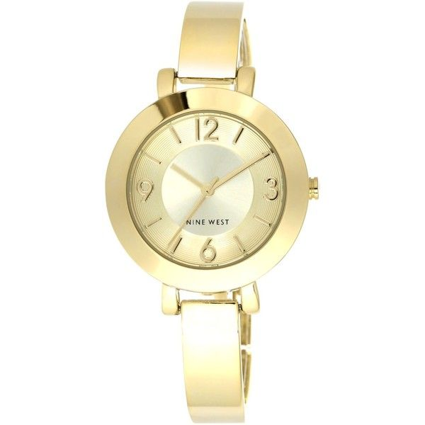 Nine West Women's Gold-Tone Bangle Bracelet Watch 34mm Nw/1630CHGB ($49) ❤ liked on Polyvore featuring jewelry, bracelets, none, nine west, nine west jewelry, bracelets bangle, bangle bracelet and gold colored jewelry