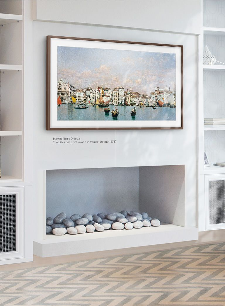 Samsung Art Store With The Frame Tv Bring World Class Galleries In Your Space Framed Tv Smart Home Design Living Room Art