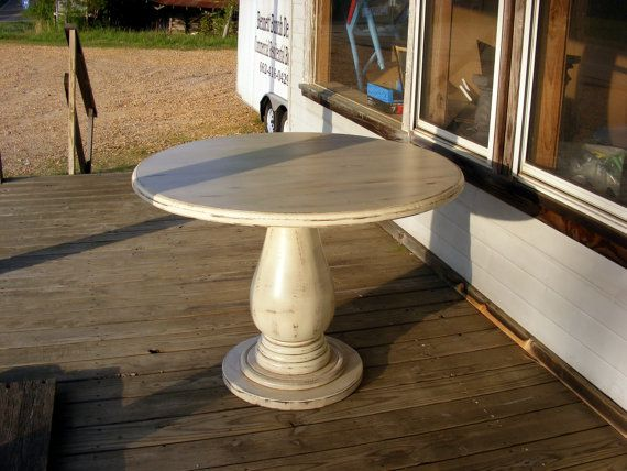 42 Inch Round Pedestal Table HUGE Solid Wood Pedestal Handcrafted  Distressed Ivory