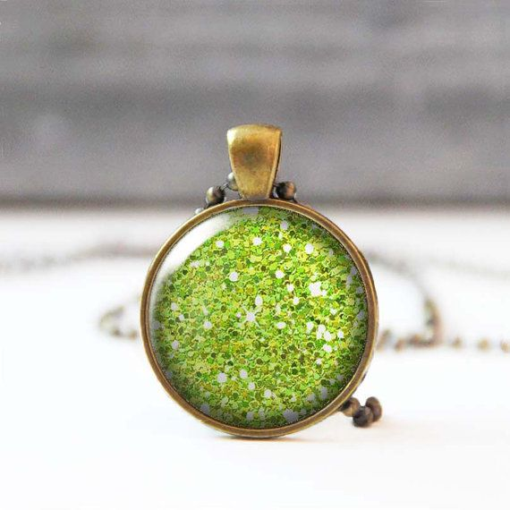 Lime Green Glitter Necklace Chartreuse Picture Pendant 25 mm 1 Inch Round Photo Necklace Sparkle Necklace Bridesmaid gift 5015-S17 by StudioDbronze