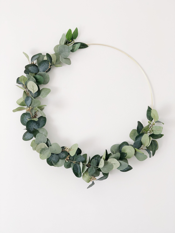 Photo of Greenery Gold Hoop Wreath, Hoop Wreath, Curb Appeal, Modern Wreath, Eucalyptus wreath, Minimalist Wreath, Scandinavian Wreath
