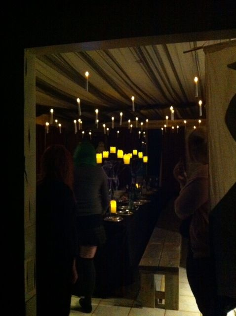 Harry Potter-themed party, complete with floating candles in the Great Hall.