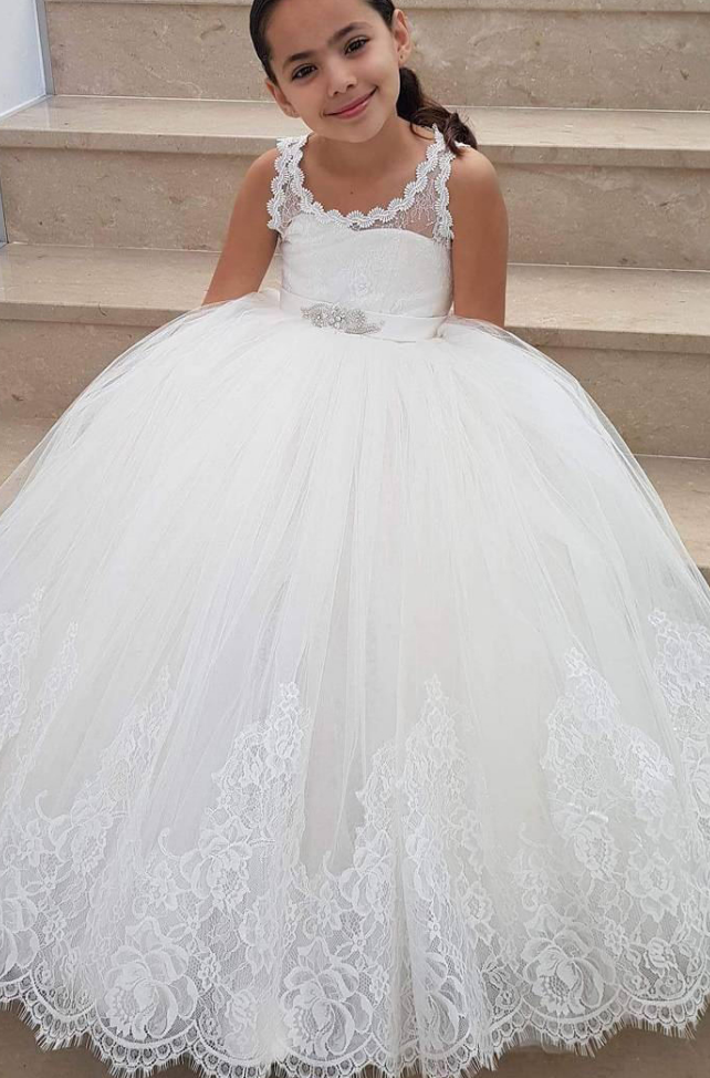 Sleeveless Ball Gown Flower Girl Dresses Floor Length | Kids dresses ...