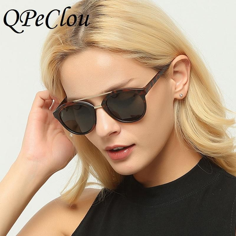 d9a0f748dca QPeClou Vintage Round Mirror Sunglasses Women Men Double Beams Glasses  Oculos Spectacles Shades Eyewear UV400