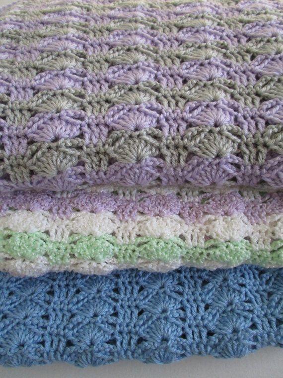 Easy Crochet Blanket Pattern, Arching Shells, Crochet Afghan Pattern ...