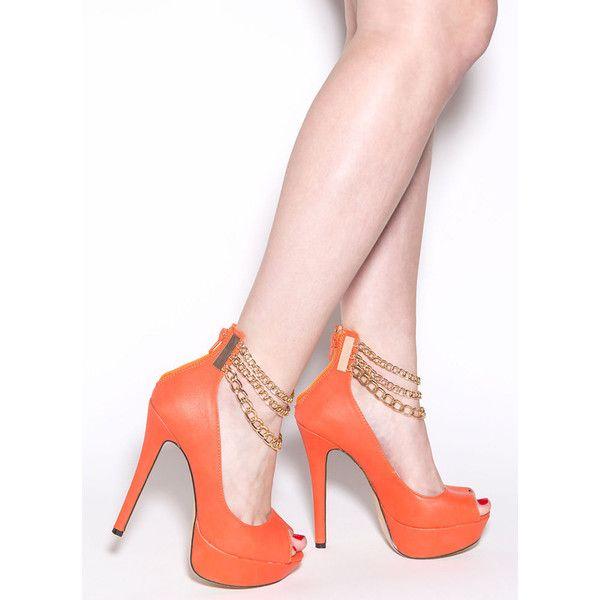 dd6af1c10ed Chain-ge 4 Good Platform Heels ORANGE ( 29) ❤ liked on Polyvore featuring  shoes