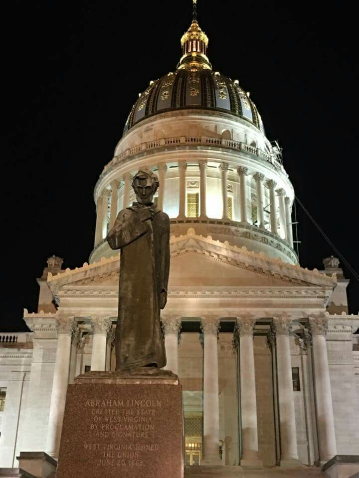 Image result for lincoln in front of wv capitol