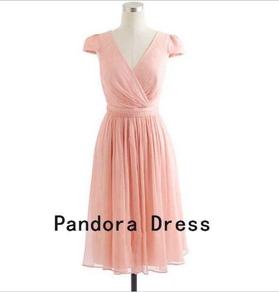Knee-length Chiffon Short Bridesmaid Dress,Prom Dress,Evening Dresses, Pink Bridesmaid Dress,cocktail dress,homecoming dress- for kays wedding
