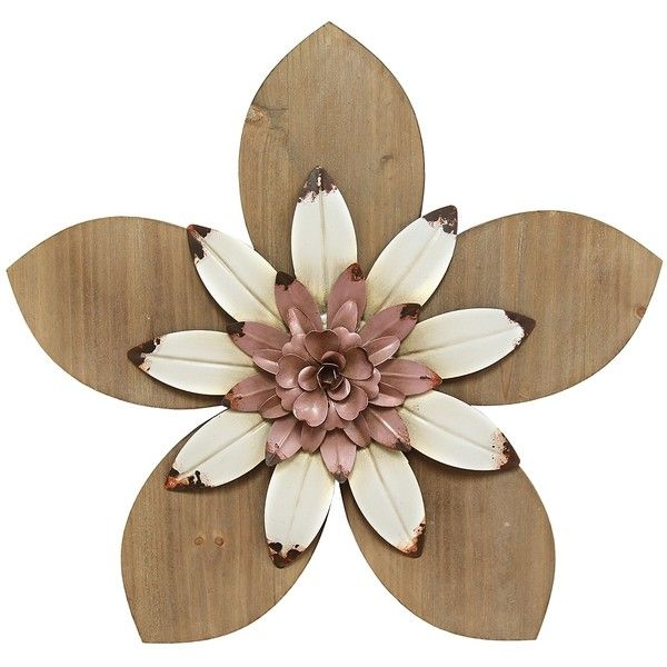 Pink And White Rustic Wooden Flower Wall Plaque 40 Liked On