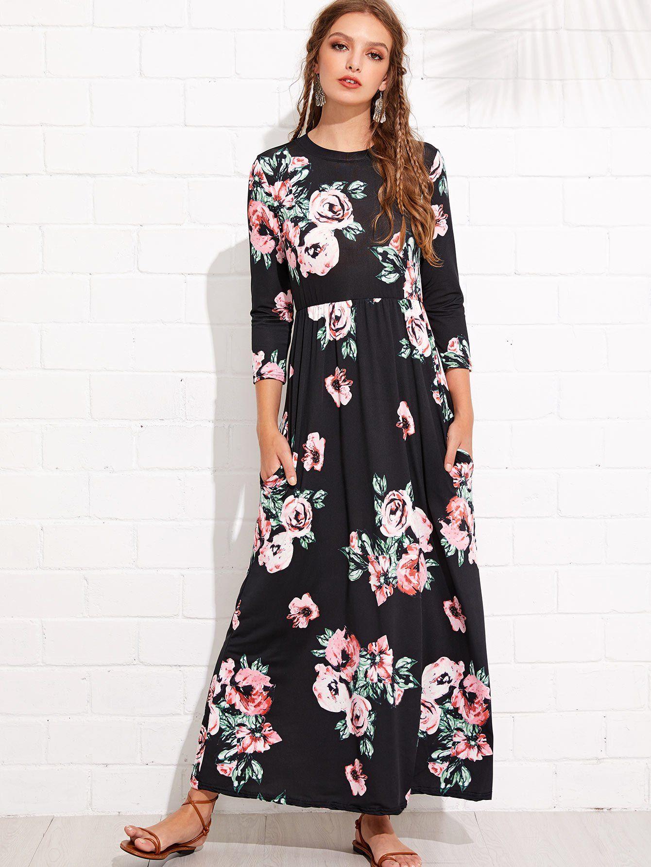 Flower print long dress in aesthetic aspirations pinterest