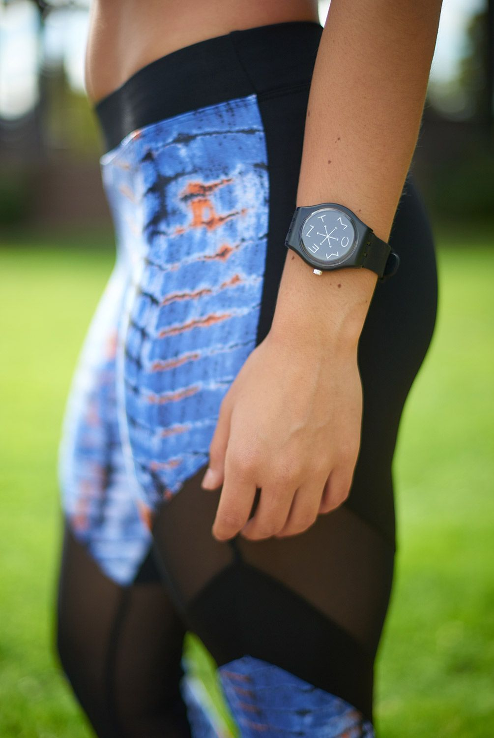 Steal Back Time watches help you know what time it is. Time to be in the moment! Stay present with this cool bracelet. (Leggings: Koral Activewear-Frame Legging) All available at evolvefitwear.com