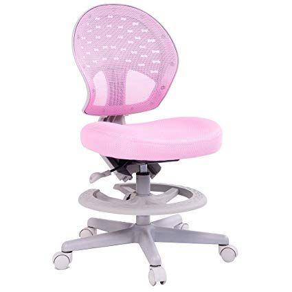 Merax Children\u0027s Desk Chair with Foot Rest 360 Degree Swivel (pink