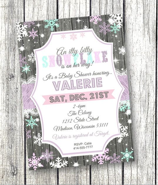 Winter Wonderland Snowflake Baby Shower Invitation Invite Rustic Wood And  Lace