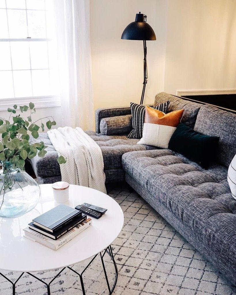 Sven Briar Gray Right Sectional Sofa Grey Couch Living Room Gray Sectional Living Room Dark Grey Couch Living Room