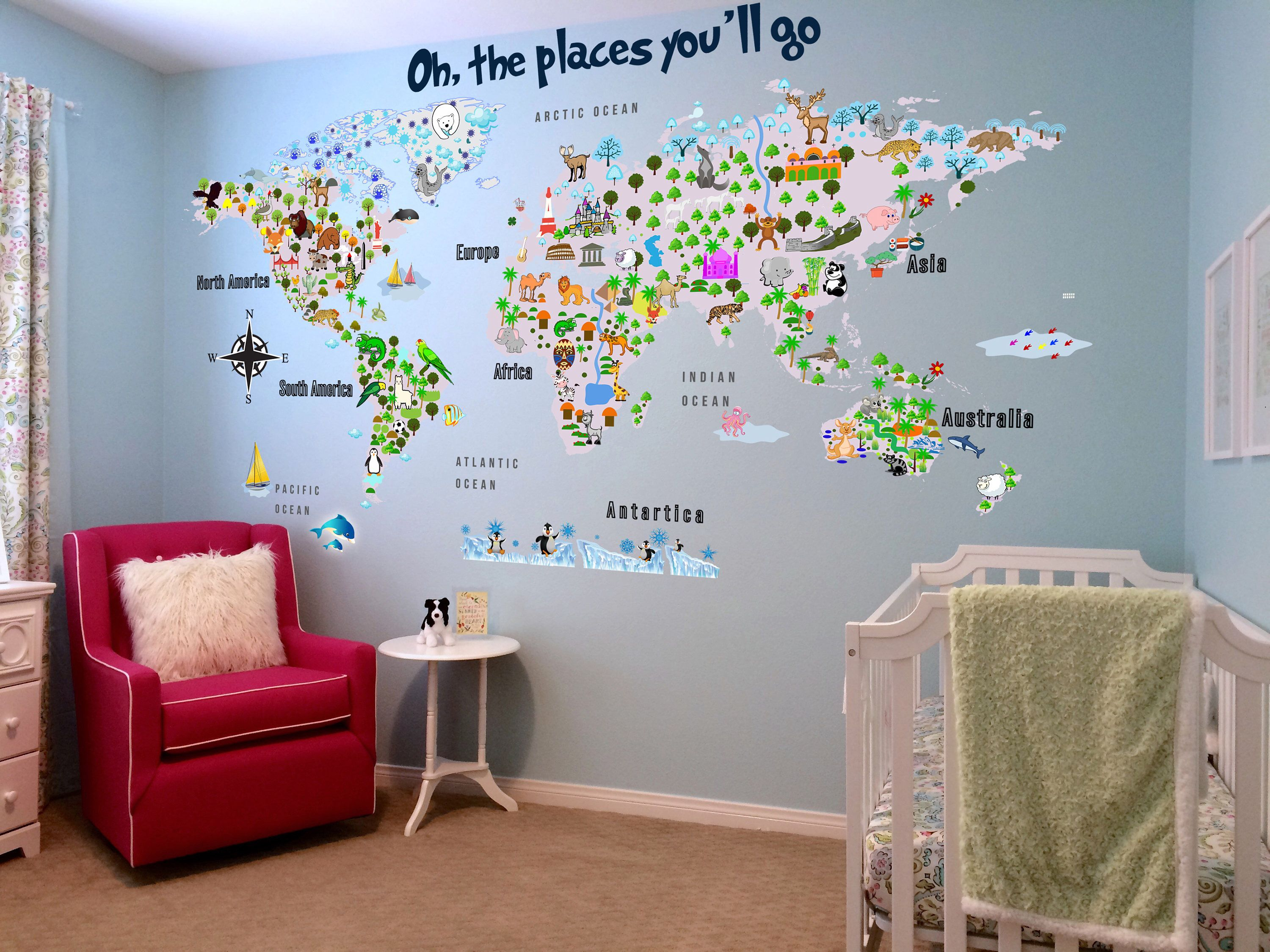 Animal map cultural world map wall decal reusable vinyl fabric animal map cultural world map wall decal reusable vinyl fabric repositionable decal nursery room decals clear decals gumiabroncs Gallery