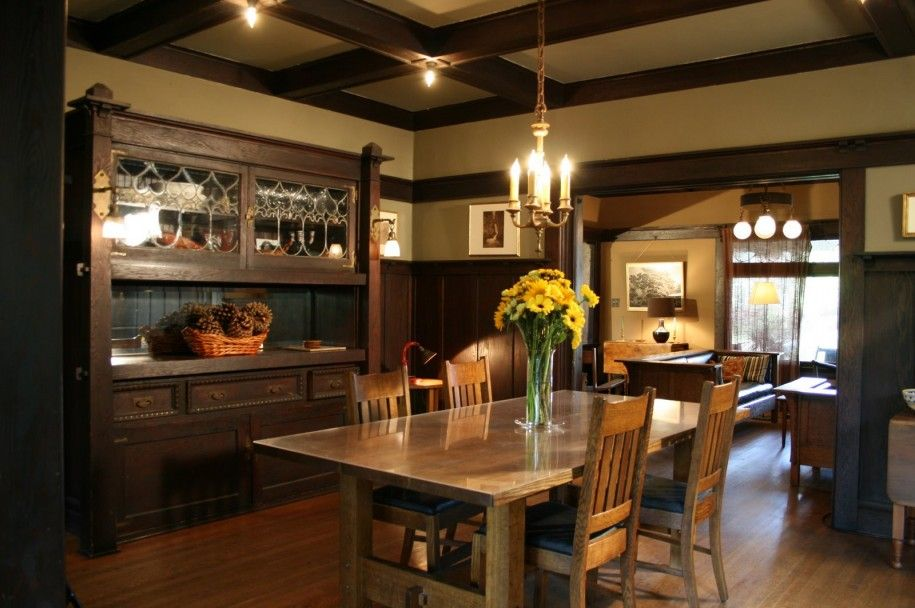 Sleek Wood Dining Table Traditional Craftsman Style Interiors