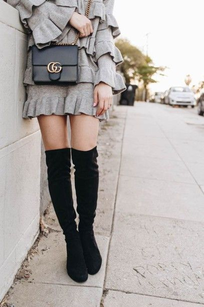 1f0393318557 Shoes  tumblr boots black boots over the knee boots thigh high boots suede  suede boots dress grey
