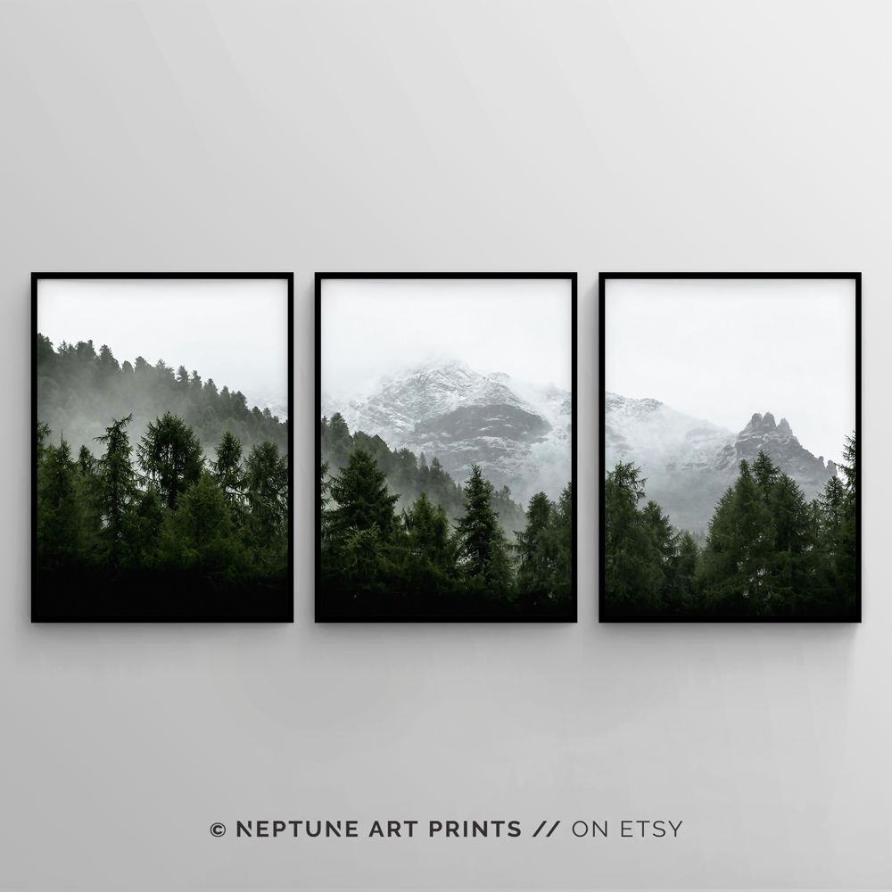 3 Piece Forest Wall Art Print Set Of 3 Forest Landscape Art Green Forest Printable Nature Printable Modern Art Minimalist Misty Decor Forest Wall Art Landscape Art Bedroom Wall Art