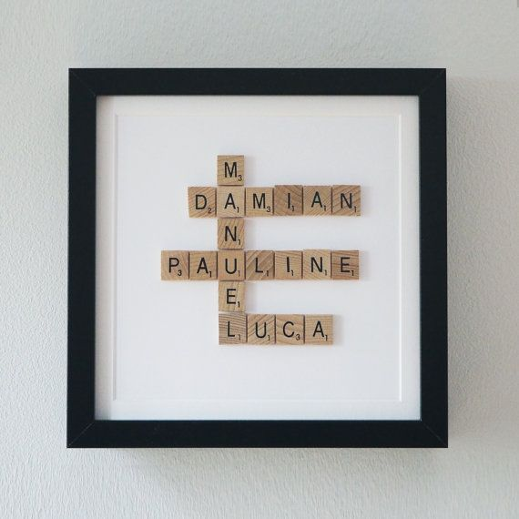 Framed Scrabble Family Tree 5th Year Anniversary By Ateliergreen Of Wood Themed Basket Ideas