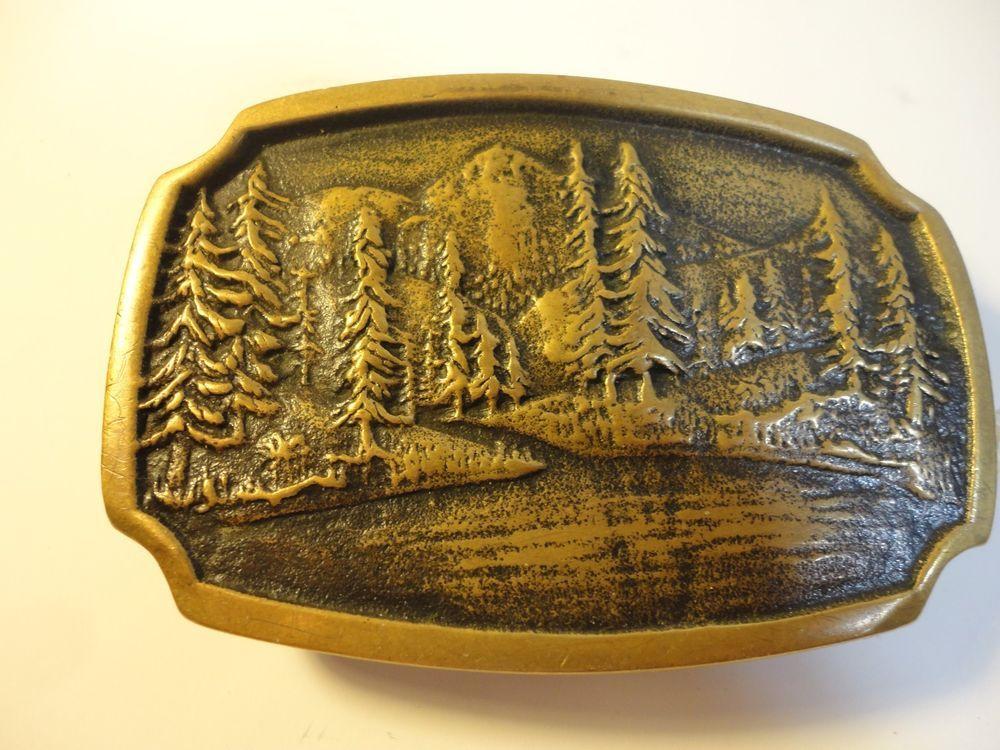 BTS solid Brass Belt Buckle Lake Mountains Pines #BTS