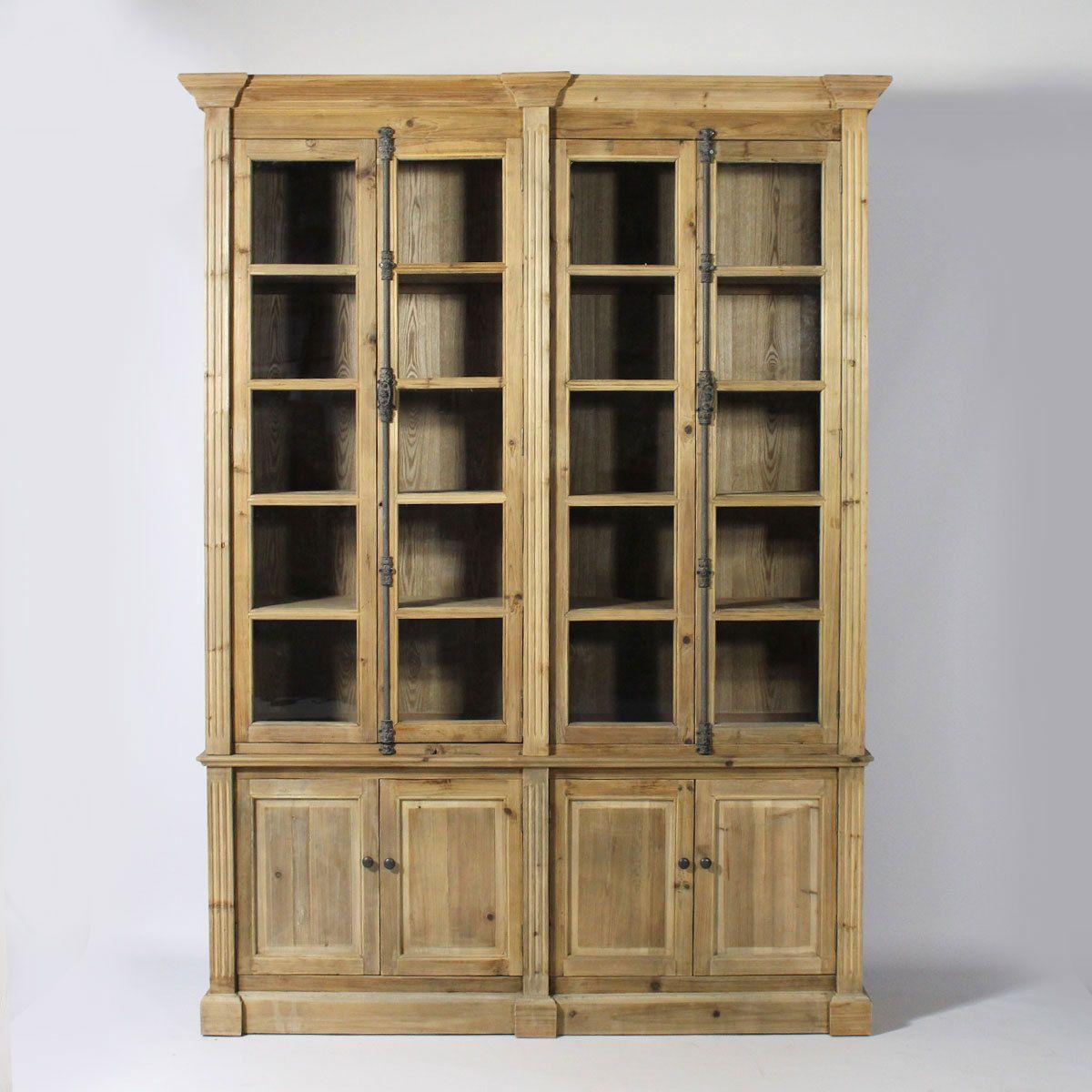 meuble biblioth que en bois recycl biblioth que vitr e authentique et pleine de charme. Black Bedroom Furniture Sets. Home Design Ideas