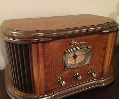 emerson nr40 table top radio am fm retro wooden box style w cd player emerson radios and retro. Black Bedroom Furniture Sets. Home Design Ideas