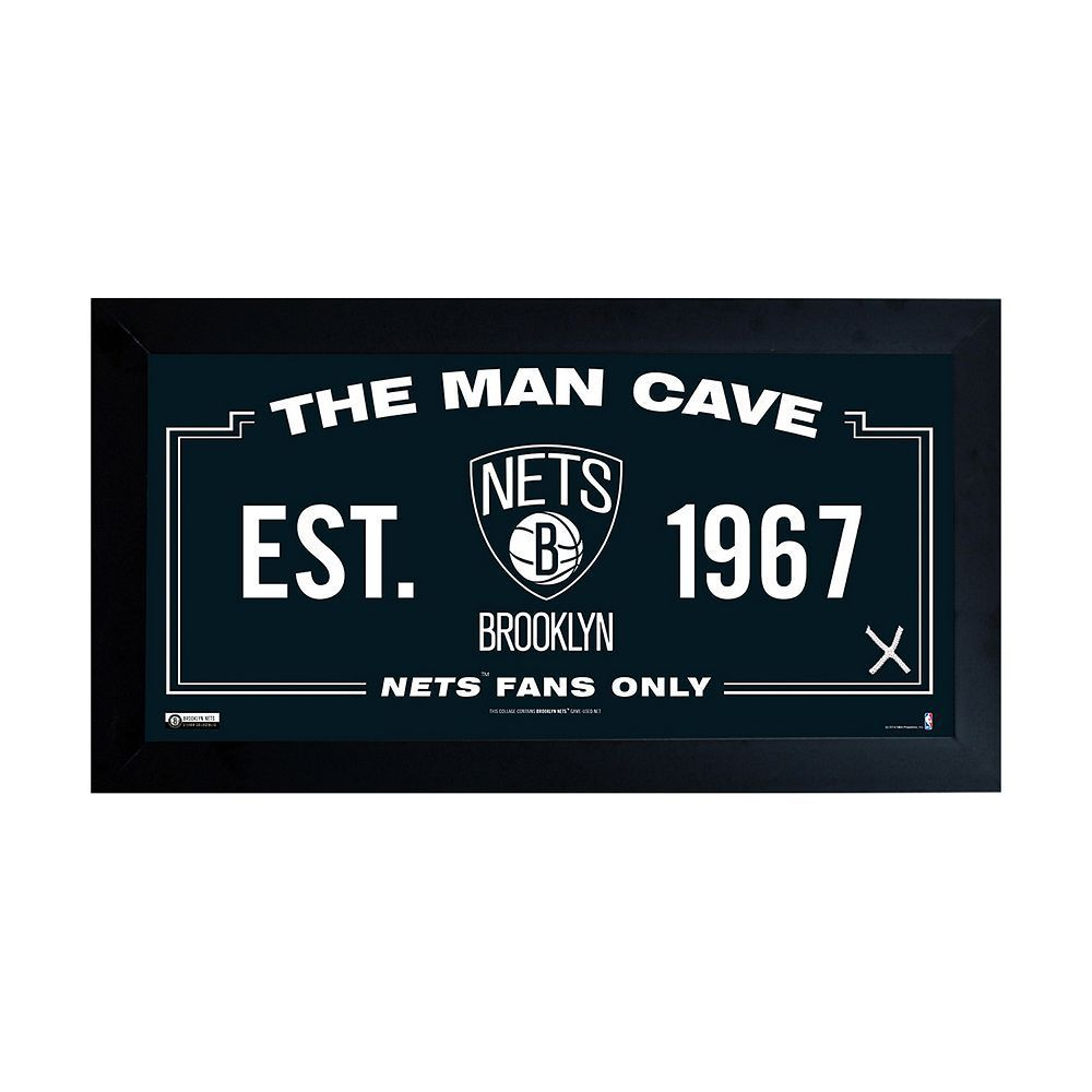 Steiner Sports Brooklyn Nets Framed 10 Quot X 20 Quot Man Cave Sign Multicolor Man Cave Signs