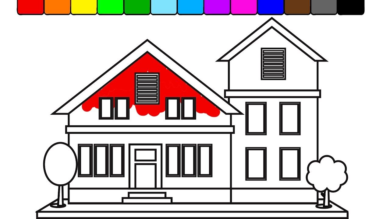 How to Draw big country house, coloring book for kids | KidsTV Jacky ...