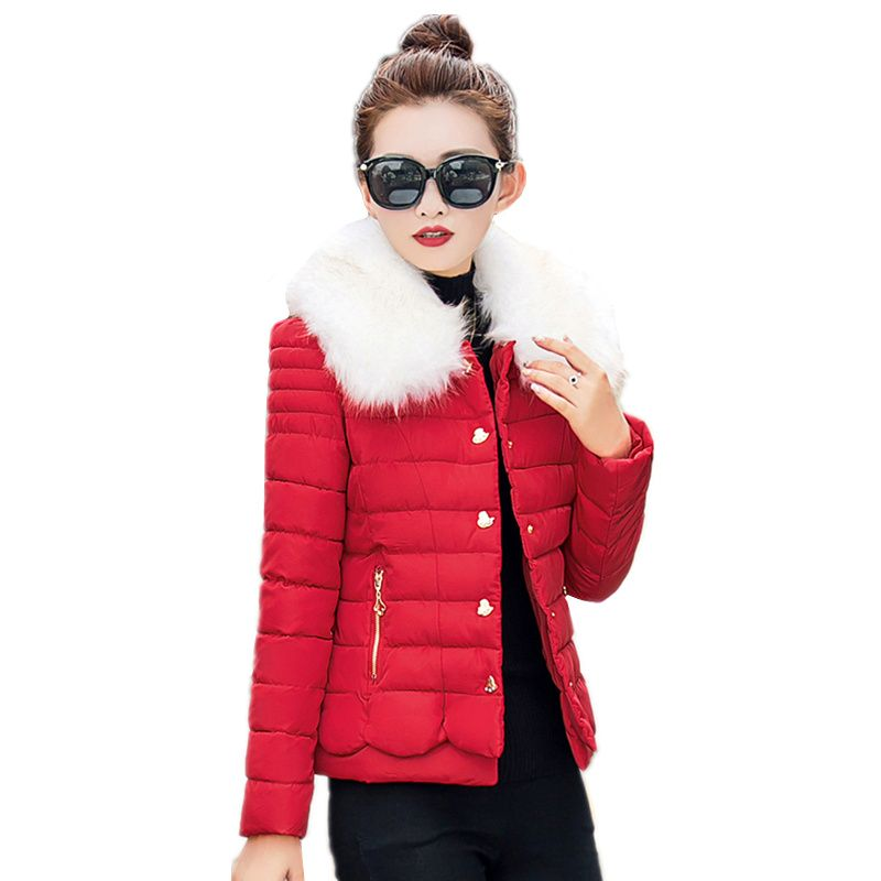 32393be56547 Click to Buy << New Winter Jacket Women Outerwear Slim Fur Collar Solid  cotton Parkas Jacket Woman Warm Cotton Padded Short jacket Coat Female  #Affiliate
