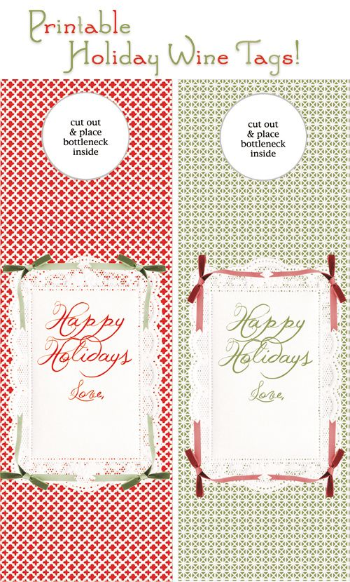 Free printable gift tag for bottle DIY Christmas holiday crafting - free wine bottle label templates