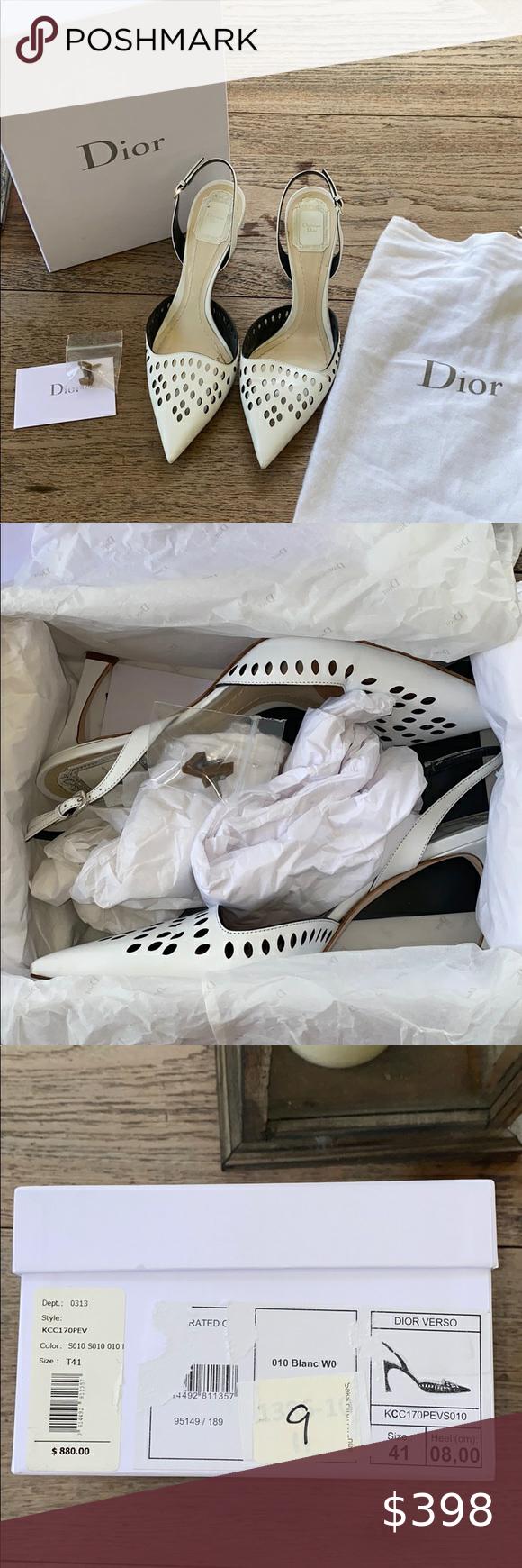 Dior Rare White Verso Slingback Sandals Slingback Sandal Slingback Shoes Women Heels