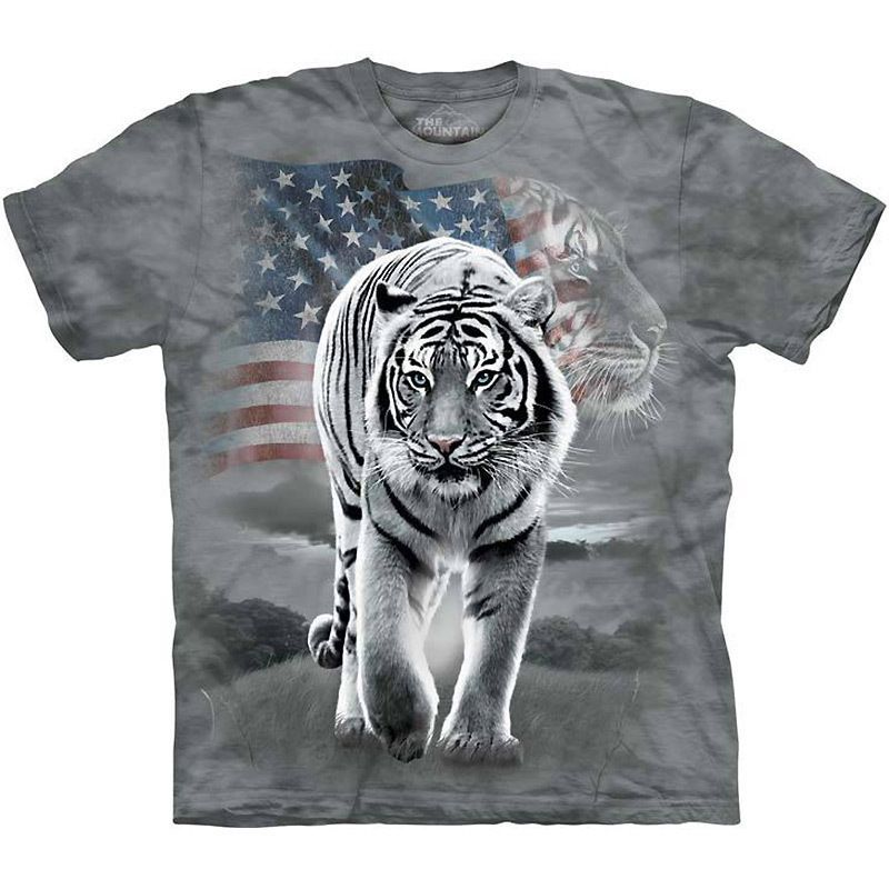 e1d77af0b7 PATRIOTIC WHITE TIGER T-SHIRT by The Mountain USA American Flag ...