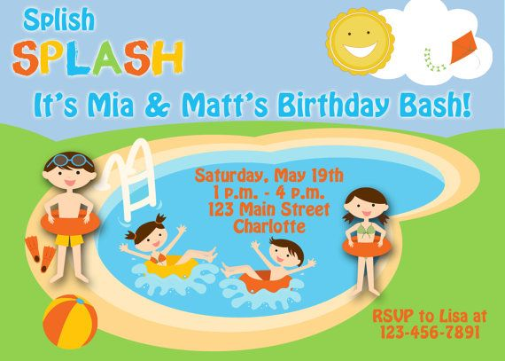 Pool party birthday invitation -- swimming party - twins birthday - birthday invitation swimming party