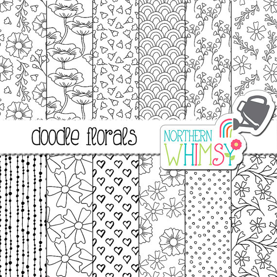 Black and White Floral Digital Paper - Hand drawn doodle flower ...
