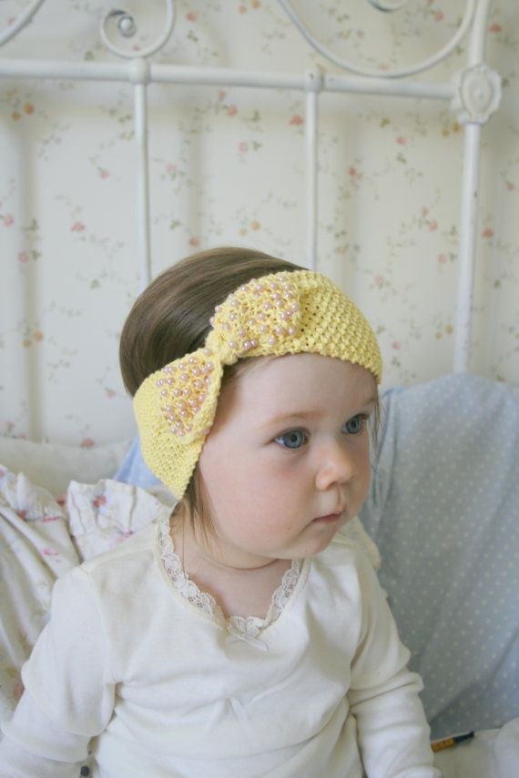 KNITTING PATTERN bow headband headwrap with beads by MukiCrafts