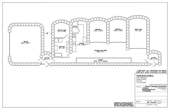 Floor Plan Of Tire House Earthship Earthship