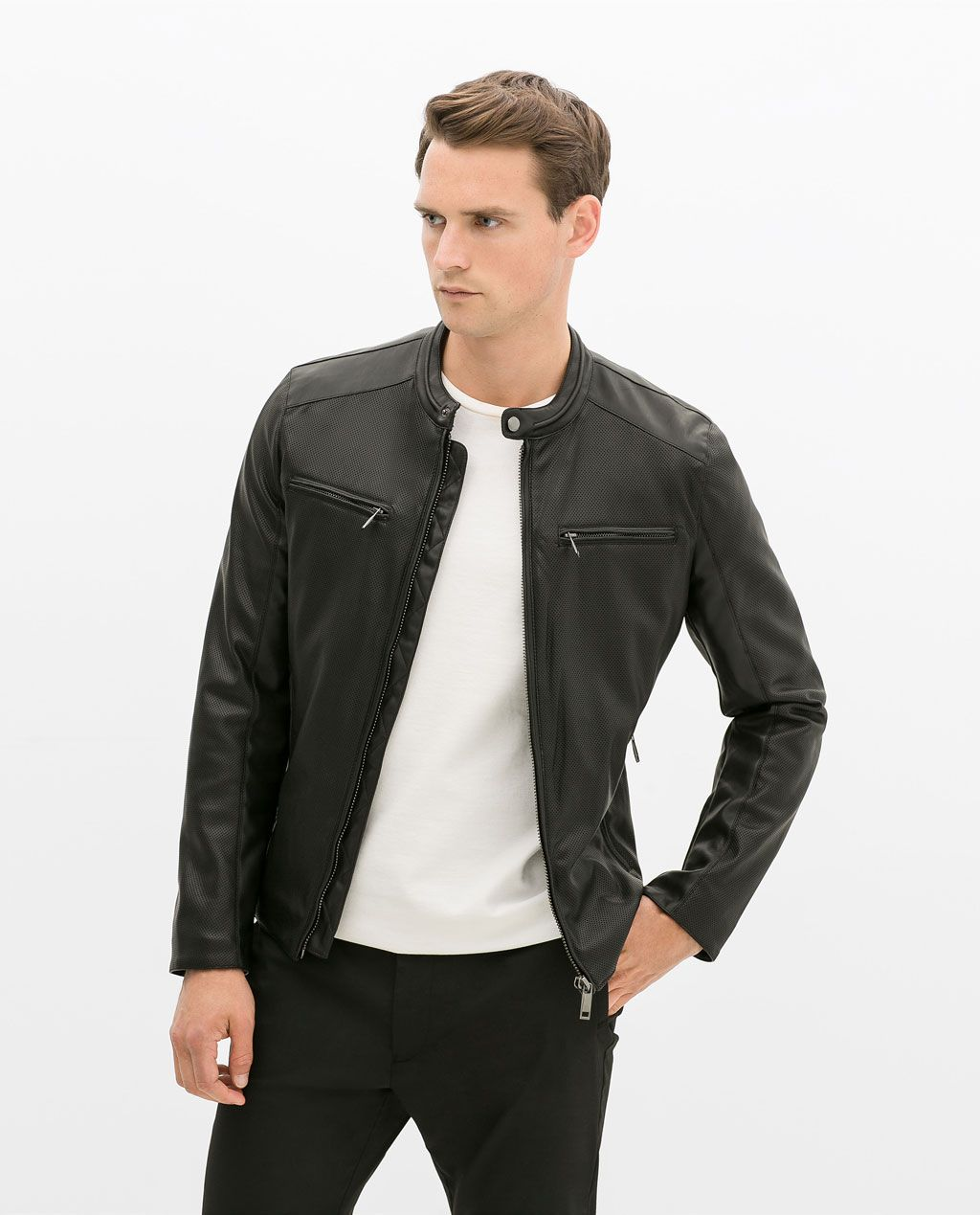 Leather jacket yellow zara - Image 1 Of Perforated Faux Leather Jacket From Zara