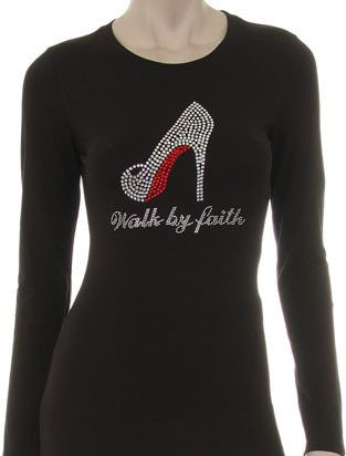 Code NEWGIGI5 to save 5% at checkout!! Walk by Faith Red Bottom Heel Rhinestone Crew Neck Long Sleeve Regular& Plus– GiGi's Shoe Party Sales