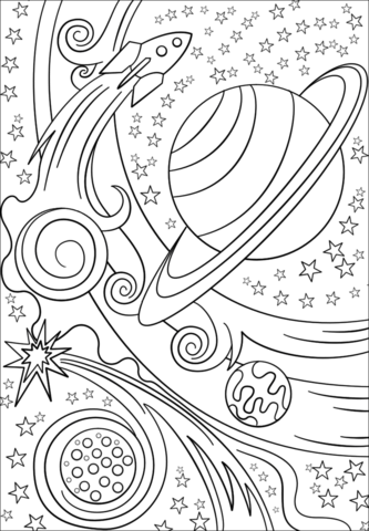 kids space themed coloring pages for kids | Trippy Space - Rocket and Planets Coloring page | Coloring ...