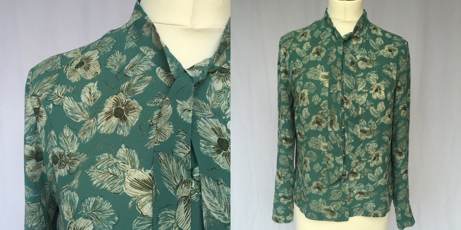 262be200c513 80 s Green Flower Mod Print Long Sleeve Blouse with a bow