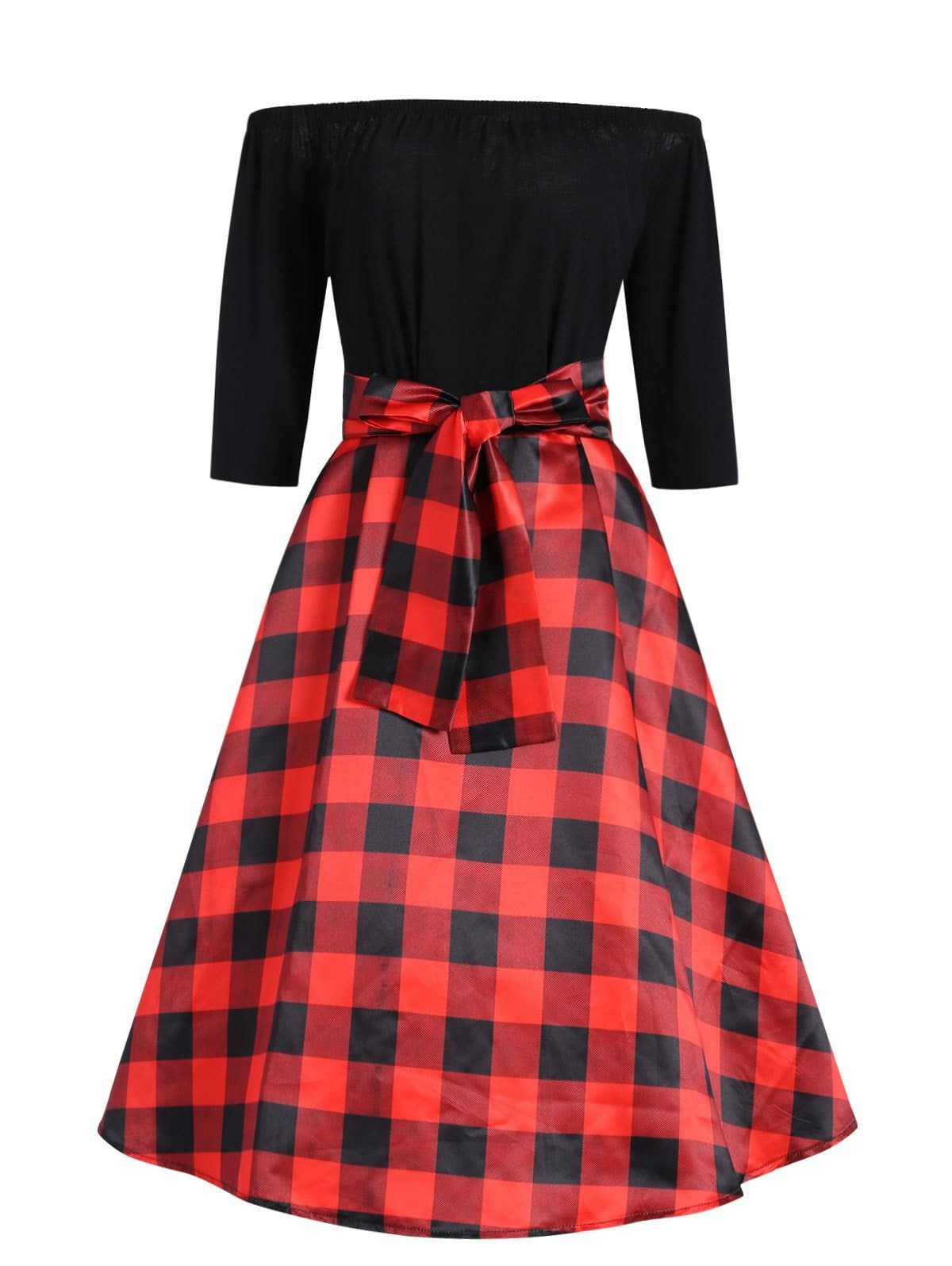 7bf33ee57e75 Plus Size Checked Off The Shoulder Vintage Dress with Belt - RED/BLACK XL