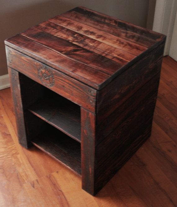 Pallet Coffee Table With Hidden Storage: Hidden Compartment Pallet Wood Nightstand By