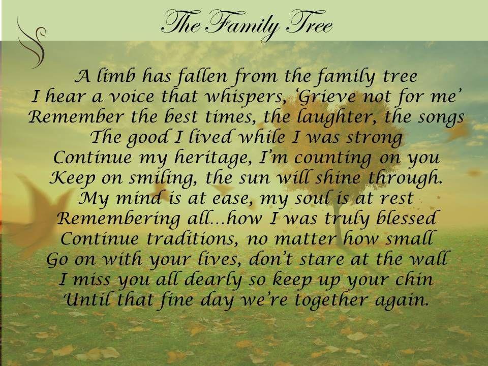 Family tree funeral poem my lush mind pinterest for Gone fishing poem