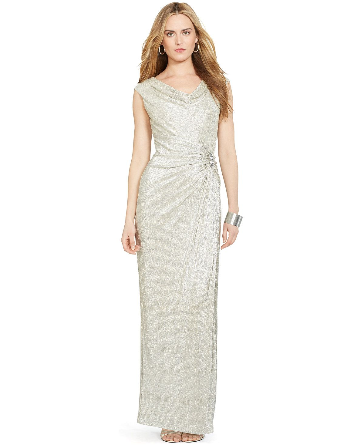 Cowl Neck Wedding Dresses Whimsical: Lauren Ralph Lauren Metallic Cowl-Neck Gown