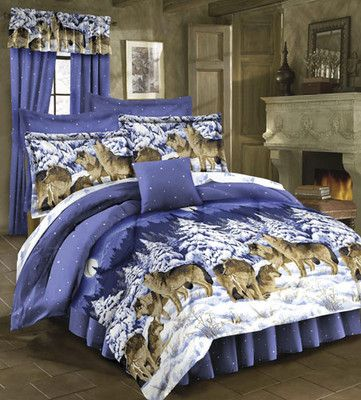 Rustic Lodge Wild Wolf Wolves Cabin Twin Size Bed