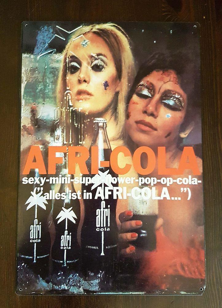 Vintage Afri Cola Metal Wall Bar Pub Sign Rare Mancave Decoration