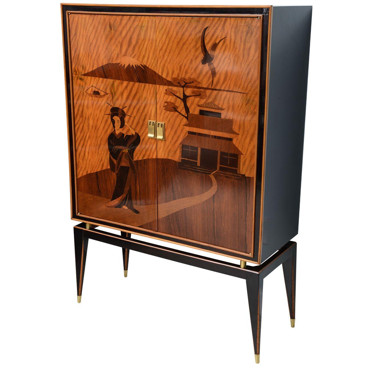 A Fine Italian Modern Marquetry Inlaid Bar Cabinet, Paolo Buffa Italy 1950s  Exhibitor: Gary
