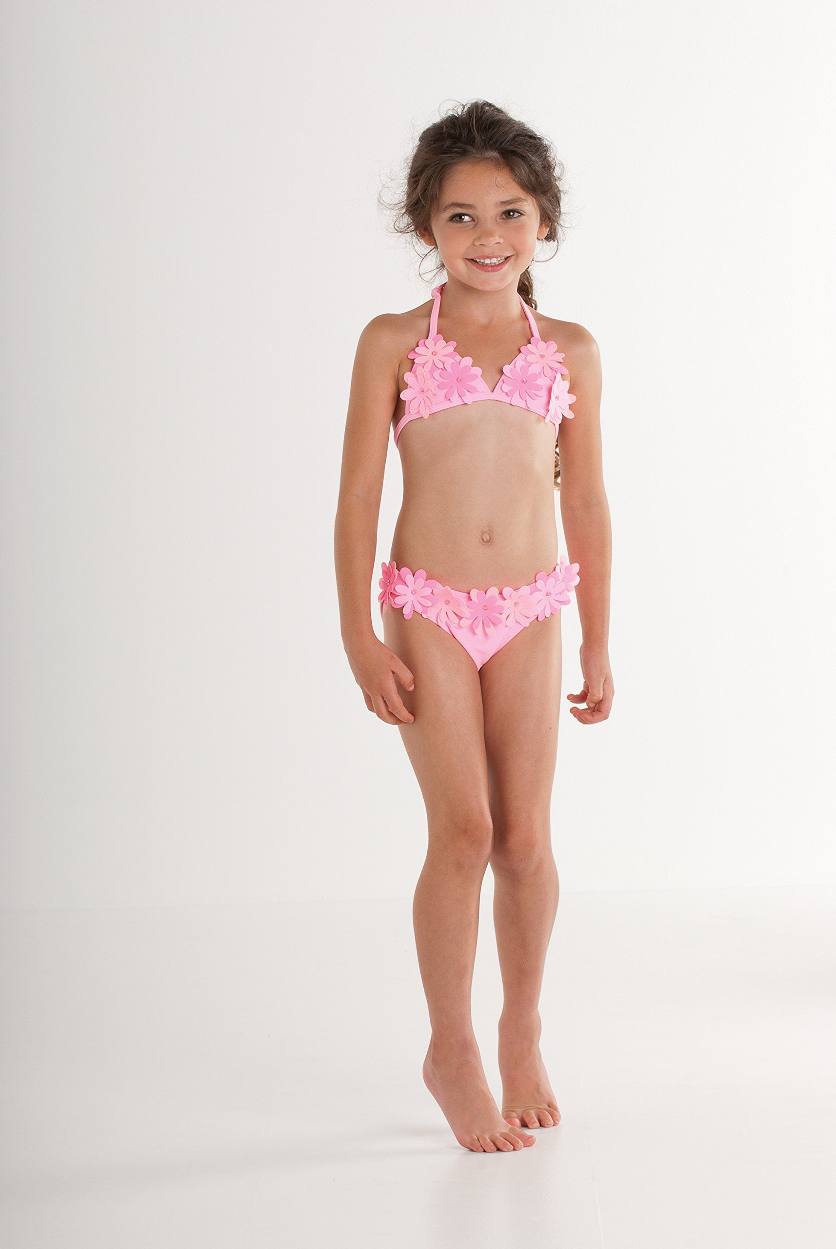 07918f01f805f Kate Mack Girl s 7-16 Dottie Daisy Bikini. Playful three dimensional daisies  dance across this darling two piece swimsuit in cotton candy pink.